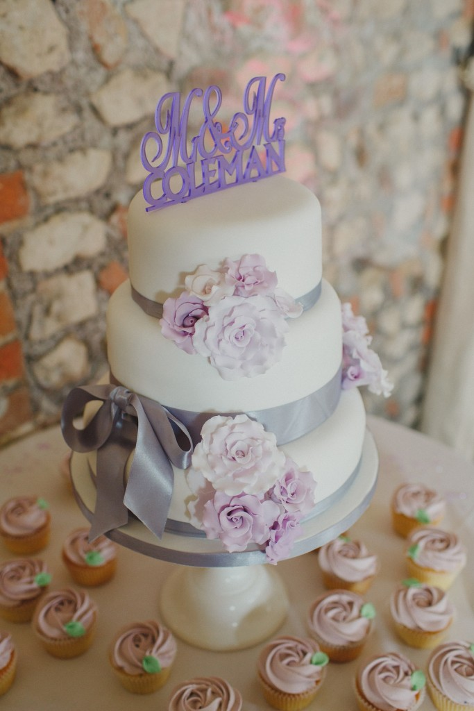 Nic's Slice of Heaven three tier white wedding cake with lilac sugar roses, Farbridge, West Sussex