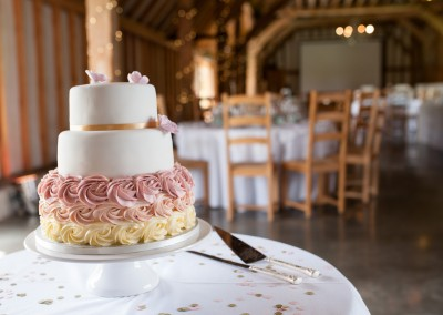 Nic's Slice of Heaven blush pink ombre three tier wedding cake, Southend Barns, Sussex