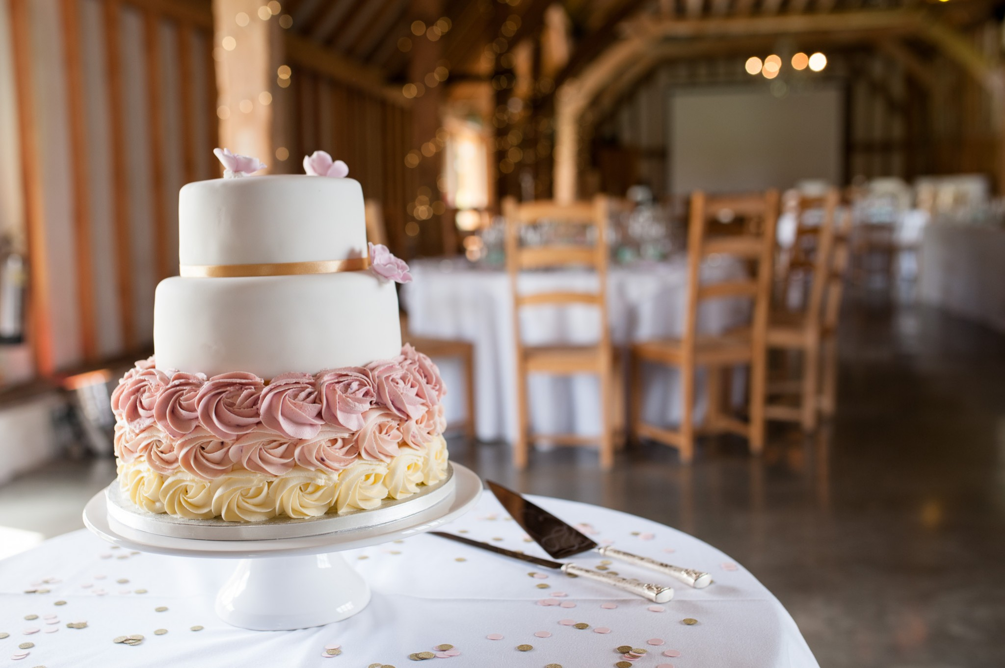 Blush pink buttercream ombre wedding cake - Southend Barns