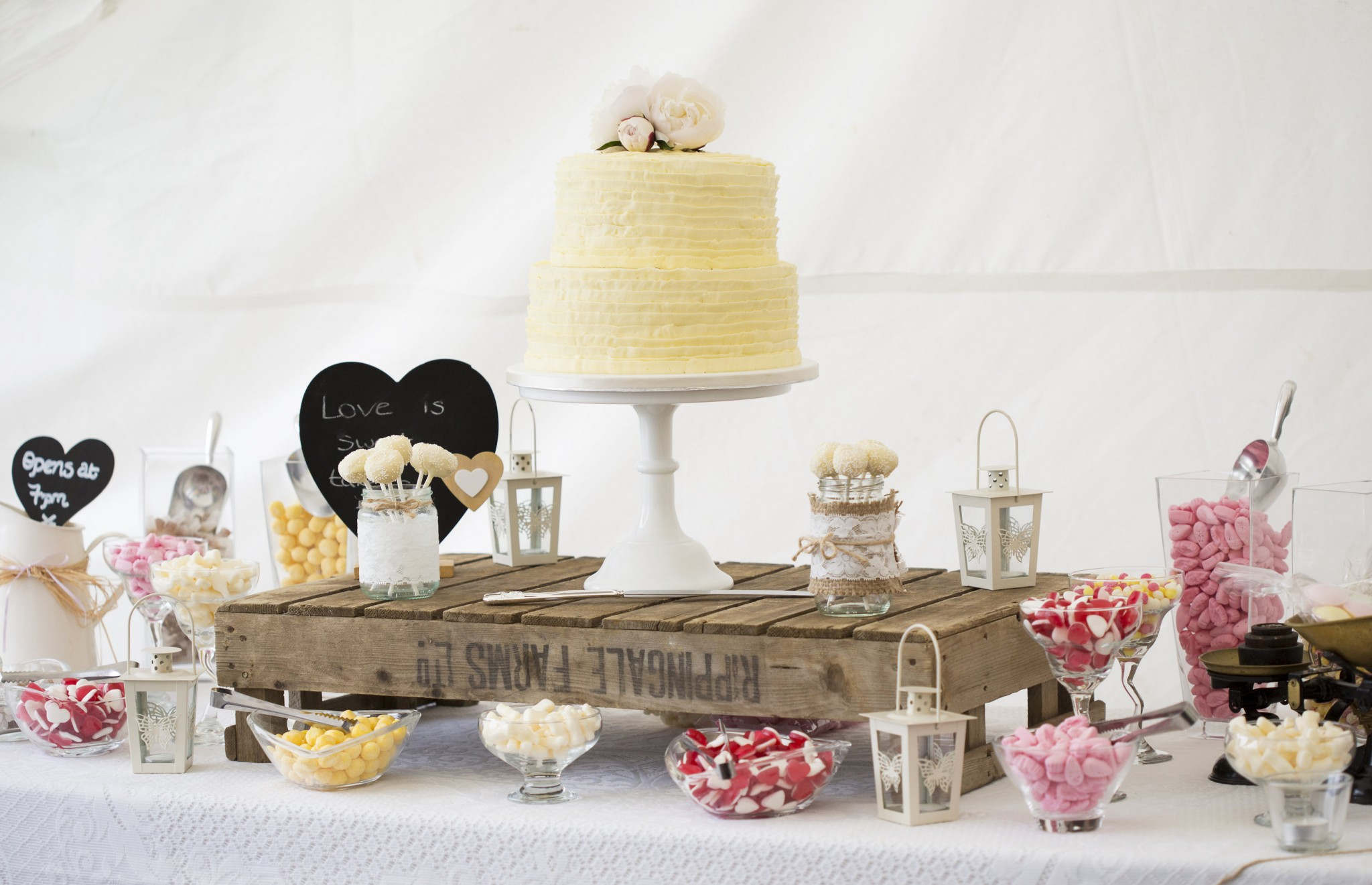 Nic's Slice of Heaven two tier buttercream wedding cake and sweet table, Duncton Mill Fishery, West Sussex